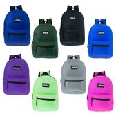"24 Units of 17"" Kids Classic Backpack in 8 Assorted Solid Colors - Backpacks 17"""
