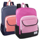 "24 Units of 18 Inch Color Block Flap Backpack - Girls Colors - Backpacks 18"" or Larger"