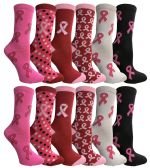 360 Units of Assorted Printed Breast Cancer Awareness Socks - Breast Cancer Awareness Socks