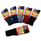 36 Units of Mens Heat Warmer Brushed Thermal Socks - Mens Thermal Sock