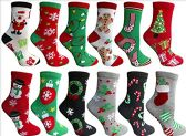 Christmas Printed Socks, Fun Colorful Festive, Crew, Knee High, Fuzzy, Or Slipper Sock by WSD (12 Pairs Crew Socks A) - Womens Crew Sock