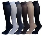 6 Pairs Pack Women Knee High Trouser Socks Opaque Stretchy Spandex (Many Colors) (Assorted) - Womens Knee Highs