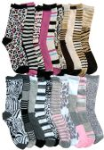 WSD Womens Value Pack Printed Crew Socks Many Colors, Soft Touch Fun Prints (20 Pairs Assorted Animal Prints) - Womens Crew Sock