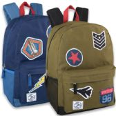 "24 Units of 18 Inch Patches Backpack With Side Pockets - Boy Colors - Backpacks 18"" or Larger"