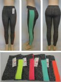 24 Units of Ladies Active Fitness Leggings [Color Stripe Down Leg] - Womens Active Wear