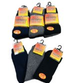60 Units of Mens Thermal Crew Socks Size 10-13 Assorted Colors With Brushed Interior - Mens Thermal Sock