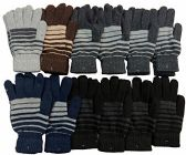 12 Pair Of MB55 Mens Womens Assorted Design Winter Gloves, Stretchy and Warm - Knitted Stretch Gloves