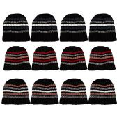 12 Pack Of excell Mens Heavy Ribbed Beanie Winter Hat, Striped Designs - Store