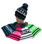 24 Units of Pom Pom Knit Hat PHILADELPHIA Pixelated - Winter Beanie Hats