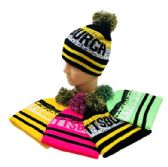24 Units of Pom Pom Knit Hat PITTSBURGH Pixelated - Winter Beanie Hats