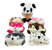24 Units of Plush Animal Hats with Flapping Ears Short - Winter Animal Hats
