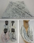 36 Units of Plush Infinity Scarf Stripe Pattern - Winter Scarves
