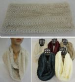 36 Units of Plush Infinity Scarf Wavy Line Pattern Double Wrap - Winter Scarves