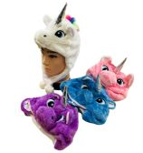 24 Units of Plush Unicorn Hat Short - Winter Animal Hats