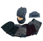24 Units of Plush Lined Beanie/Neck Warmer Combo Variegated - Winter Beanie Hats