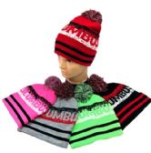 24 Units of Pom Pom Knit Hat COLUMBUS Pixelated - Winter Beanie Hats
