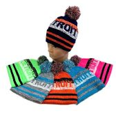 24 Units of PomPom Knit Hat DETROIT Pixelated - Winter Beanie Hats