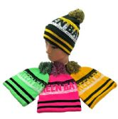 24 Units of PomPom Knit Hat GREEN BAY Pixelated - Winter Beanie Hats