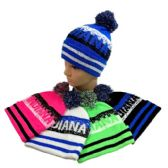 24 Units of PomPom Knit Hat INDIANA Pixelated - Winter Beanie Hats