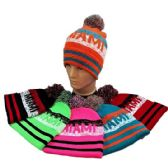24 Units of PomPom Knit Hat MIAMI Pixelated - Winter Beanie Hats