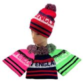 24 Units of PomPom Knit Hat NEW ENGLAND Pixelated - Winter Beanie Hats
