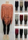 24 Units of Knitted Shawl with Fringe Large Paisley - Winter Pashminas and Ponchos