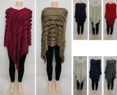 24 Units of Knitted Shawl with Fringe Ruffeled - Winter Pashminas and Ponchos