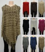 24 Units of Knitted Shawl with Fringe Textured - Winter Pashminas and Ponchos