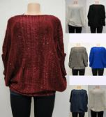 24 Units of Knitted Shawl with Sequins - Winter Pashminas and Ponchos