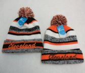 48 Units of Knitted Hat with PomPom Embroidered CLEVELAND-B/O Stripes - Winter Beanie Hats