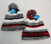 48 Units of Knitted Hat with PomPom Embroidered CLEVELAND Stripes - Winter Beanie Hats