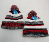 24 Units of Knitted Hat with PomPom Embroidered NEW ENGLAND Stripes - Winter Beanie Hats