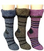 3 Pairs of MB55 Womens Winter Super Warm Fleece Lined Fluffy Boot Socks - Store
