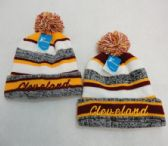 48 Units of Knitted Hat with Pom Pom Embroidered CLEVELAND W/G Stripes - Winter Beanie Hats