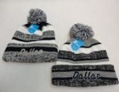 48 Units of Knitted Hat with Pom Pom Embroidered Dallas Stripes - Winter Beanie Hats