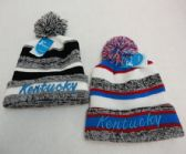 48 Units of Knitted Hat with Pom Pom Embroidered Kentucky Stripes - Winter Beanie Hats