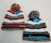 48 Units of Knitted Hat with Pom Pom Embroidered TENNESSE Stripes - Winter Beanie Hats