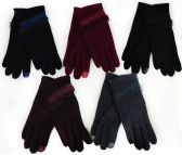 12 Units of Women Winter Touch Glove with Faux Fur & Embroidery - Conductive Texting Gloves