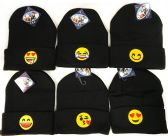 48 Units of Black Knitted Beanie with Assorted Emoji Toboggan - Toboggan Hats