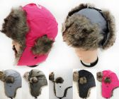 24 Units of Faux Fur Lined Bomber Solid Color Winter Hat Unisex - Fashion Winter Hats