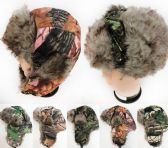 36 Units of Unitsex Faux Fur Lined Bomber Tree Camo Winter Hat - Fashion Winter Hats