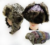 36 Units of Unisex Faux Fur Lined Bomber Leopard Print Winter Hat - Fashion Winter Hats