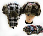 36 Units of Unisex Faux Fur Lined Bomber Plaid Print Winter Hat - Fashion Winter Hats