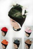 24 Units of Children's Fleece Hat with Deer Antler & Ears Assorted - Junior / Kids Winter Hats