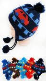 48 Units of Toddler Fleece Lined Knitted Car Pattern Cap Ear Flap - Junior / Kids Winter Hats