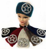 36 Units of Large Rhinestone Circle Star Design Headband Assorted - Ear Warmers