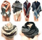 12 Units of Large Blanket Scarves Wrap Assorted Color Plaid Print - Winter Scarves
