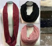 36 Units of Knitted Gold Line Infinity Circle Scarves - Winter Scarves