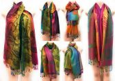 24 Units of Multicolor Phoenix & Flower Pattern Large Pashmina - Winter Pashminas and Ponchos