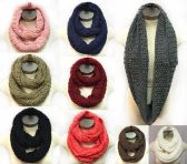 36 Units of Solid Textured Pattern Infinity Circle Knitted Scarves - Winter Scarves